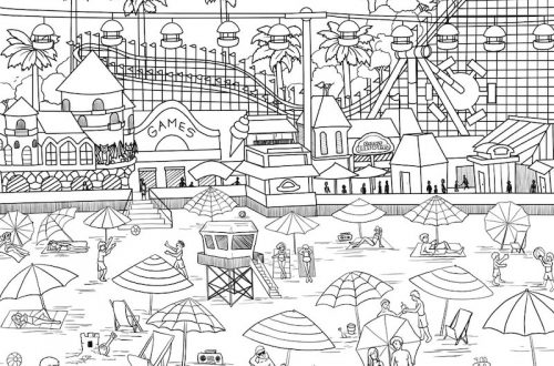santa cruz beach boardwalk coloring page
