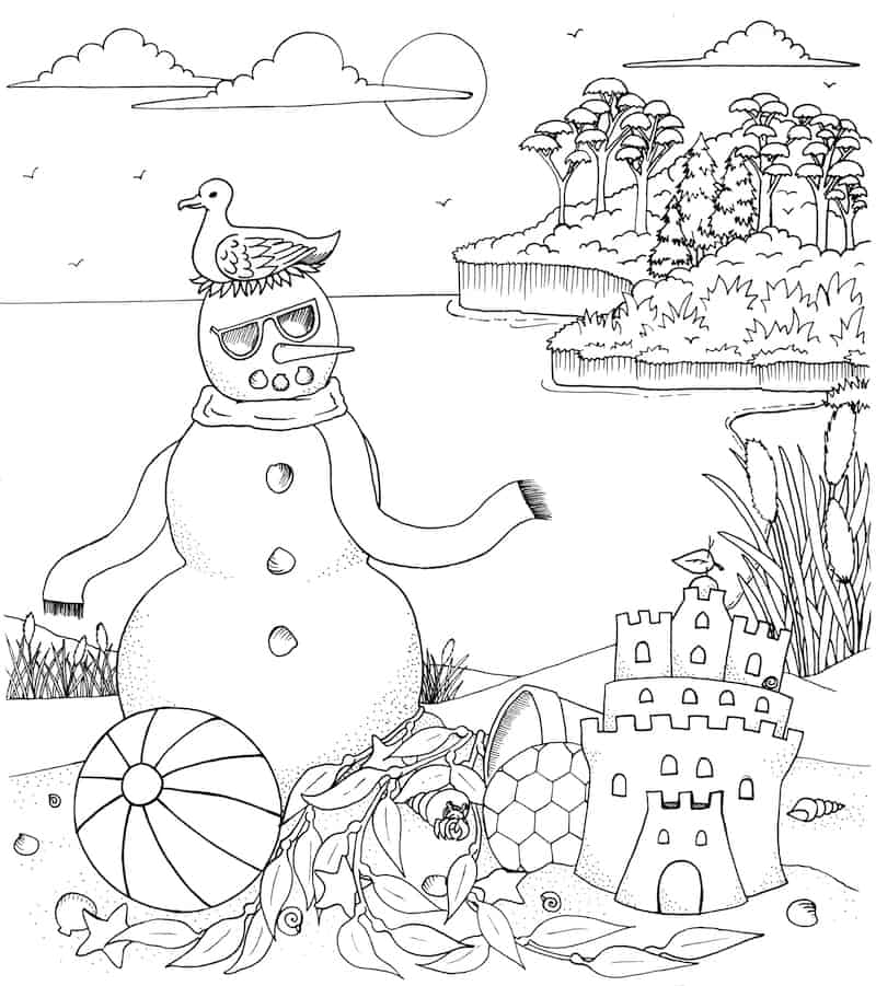 winter beach coloring page