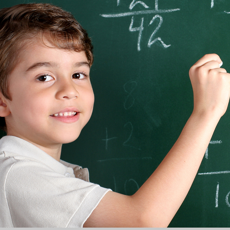 Kid at Chalkboard