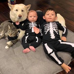 Joshua and David pup is Kula and kitty is Makena