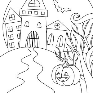 Coloring page. Game for kids. Halloween